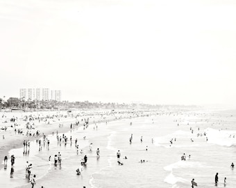 Santa Monica Beach Art Print, Black And White Beach Art, Coastal Wall Art, Los Angeles, California, Gray White, Monochrome, Crowded Beach