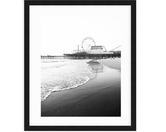 Santa Monica Pier Print, Black And White Beach Art, Coastal , Santa Monica Beach, Los Angeles, California, Monochrome, Large Beach Print
