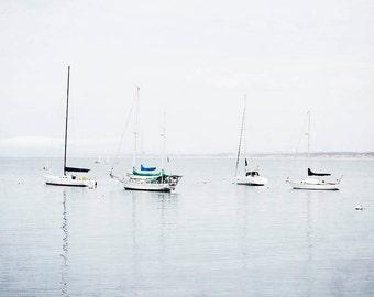 "Sailboat Wall Art, Nautical Decor, Gray White Minimalist, Boat Wall Art, Nautical Wall Art, Sailboat Print, Boat Photograph ""Set Sail"""