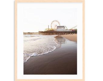 Santa Monica Beach Art, Coastal Living, Beach Bungalow, Modern Coastal, Natural Beach Tones, Los Angeles, California, Santa Monic Pier