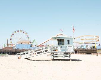 Santa Monica CA, California Beach Print, Santa Monica Pier, Coastal Wall Art, California Coast, Southern California, Colorful Wall Art