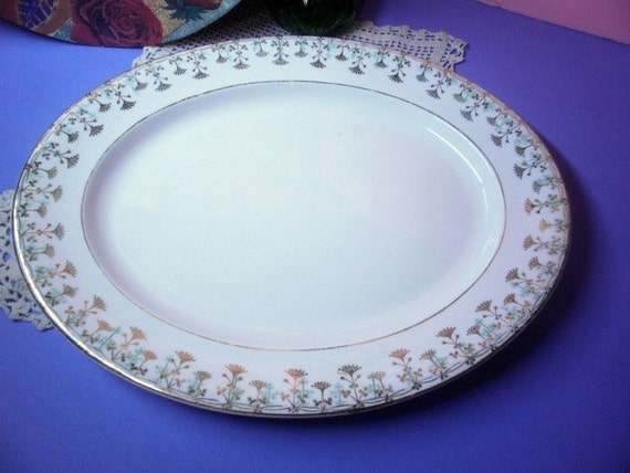 Vintage Knowles Taylor Knowles Oval Turkey Platter Green Etsy