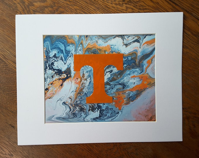 "Football UT Vols Art #P8 Flow Painting PRINT 8x10"" Volunteers College Knoxville Tennessee"