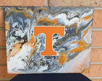 """UT Art #18  8 x 10"""" University Decor for office or game rooms VOLunteers Knoxville TN Football Basketball Flow Art"""