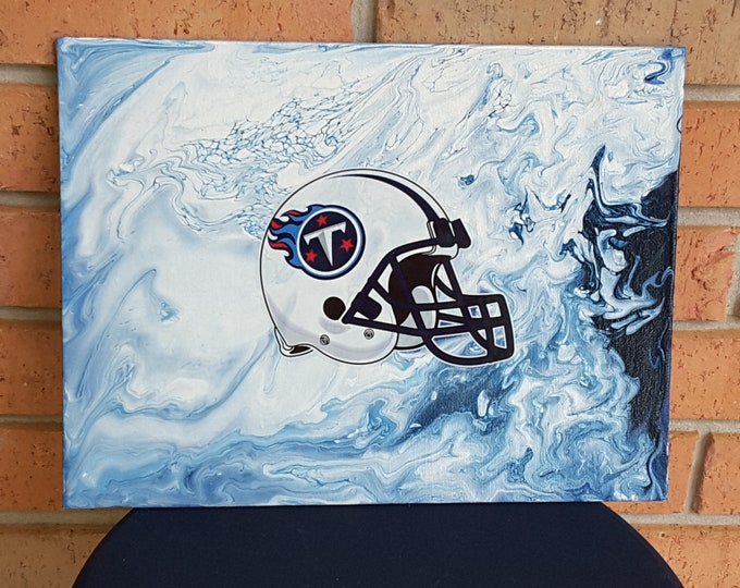 Tennesse Titans fluid painting with Helmet Logo 9 x 12""