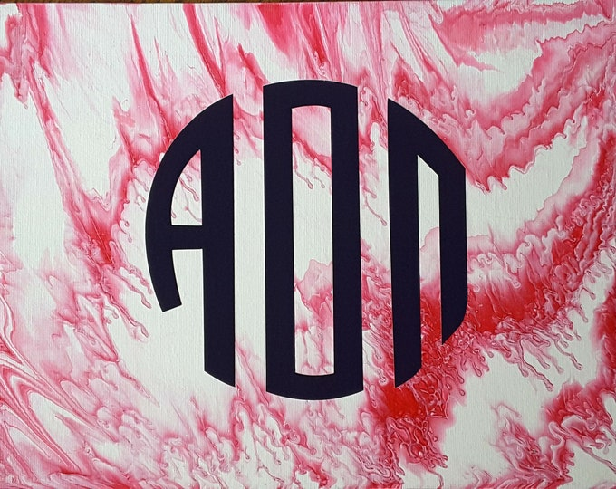 Alpha Omicron Pi  - Abstract Fluid Flow Painting with Sorority Logo
