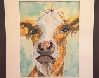 Maebell the Cow, original Watercolor Painting