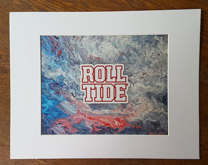 Alabama Roll Tide Flow Art PRINT #P5 8x10""