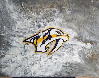 "Smashville Predators Flow Art Original painting 9 x 12"""