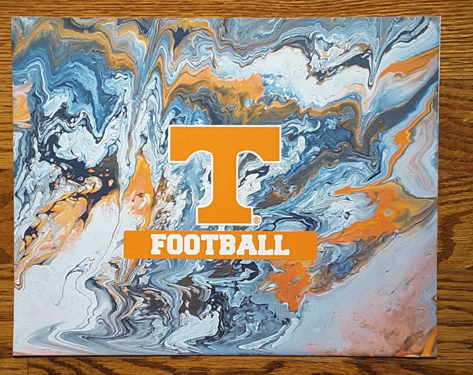 "Football UT Vols Art #P7 Flow Painting PRINT 8x10"" Volunteers College Knoxville Tennessee"