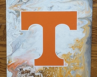 """UT Art #27  University Decor 11 x 14"""" for office or game rooms Volunteers Knoxville TN Football Basketball Flow Art"""