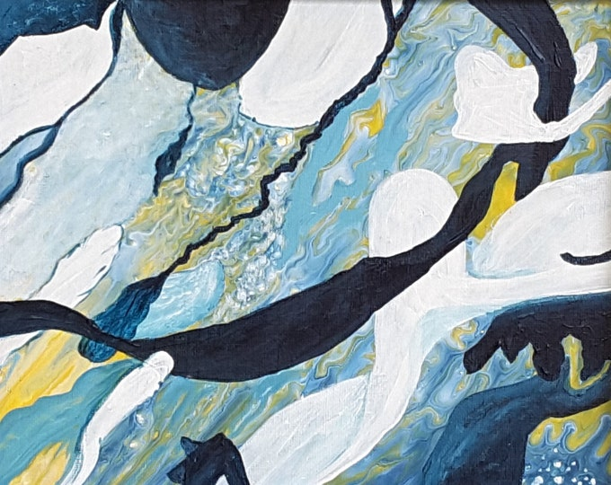 "Ocean Action Fluid Art Painting 8 x 10"""