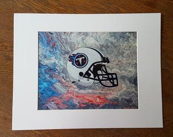 "Tennessee Titans Helmet Flow Art PRINT #P3 8x10"""