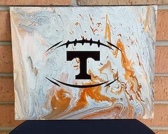 "Football UT Vols Art #17  12 x 16"" Flow Painting Volunteers College Knoxville Tennessee"