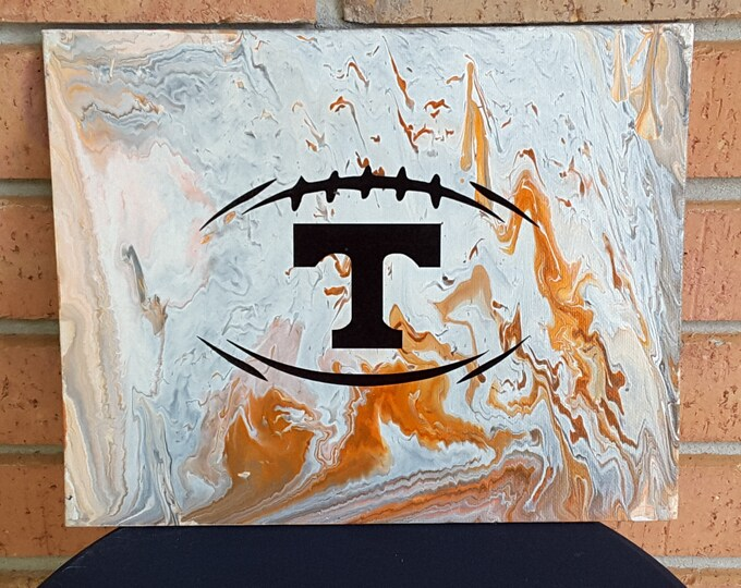 "Football UT Vols Art #17  12 x 16"" Flow Painting Volunteers College Knoxville Tennessee"