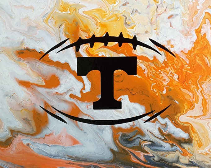 "Football UT Vols Art #6 Flow Painting 11 x 14"" Volunteers College Knoxville Tennessee"