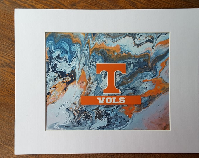 "Football UT Vols Art #P1 Flow Painting PRINT 8x10"" Volunteers College Knoxville Tennessee"