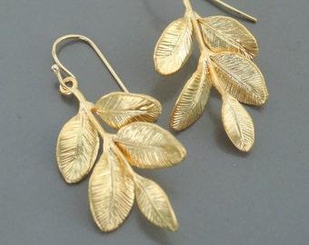 Gold Earrings - Leaf Earrings - Dangle Earrings - Nature Jewelry - handmade jewelry