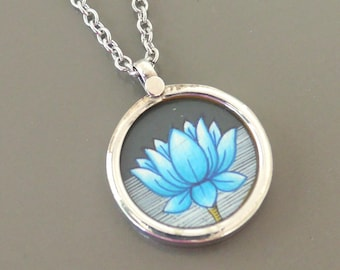 Silver Necklace - Yoga Necklace - Lotus Flower Necklace - Blue Necklace - Flower Necklace - Layering Necklace - Boho Necklace - handmade