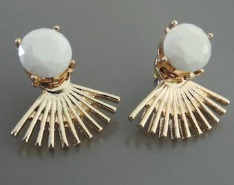 Ear Jackets - Gold Statement Earrings - White Earrings -  Stud Earrings - Ear Jacket Earrings - Festival Earrings - Post Earrings