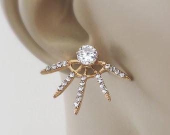 Ear Jackets - Gold Earring Jackets - Gold Earrings - Crystal Earrings - Stud Earrings - Bridal Earrings - Spike Earrings - Trending Earrings