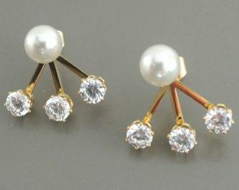 Ear Jackets - Pearl Earrings - Gold Earring Jackets - Crystal Earrings - Stud Earring - Bridal Earrings