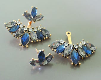 Ear Jackets - Sapphire Earrings - Gold Earrings - Crystal Earrings - Stud Earrings - Bridal Earrings - Boho Earrings - Trending Earrings