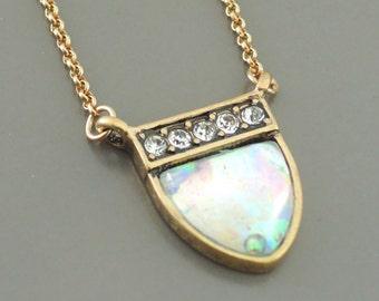 Art Deco Necklace - Layering Necklace - Opal Necklace - Boho Crystal Necklace - handmade jewelry