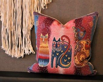 Coussin jacquard couverture chat, jeter, jeter oreiller, coussins, Boho style, oriental, pendaison de crémaillère cadeau