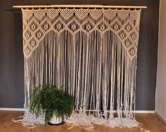 Macrame Wedding backdrop, arch for decor at indoor or outdoor ceremonies. Macrame curtain, room divider, Bohemian, Christmas gift
