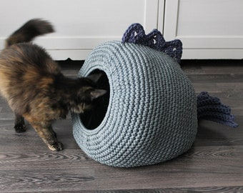 Cat bed, crochet cat cave - cat house - puppy bed - handmade crochet cat bed - light blue - gift for  pet lover - Cat condo, pet furniture