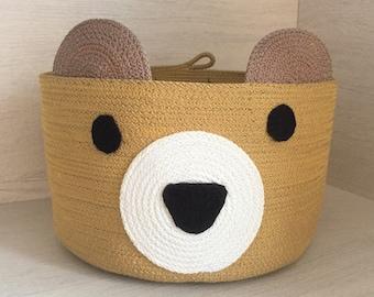 Animal basket for kids, bear shaped for child's bedroom, nursery, playroom storage