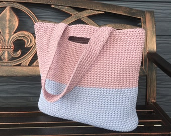 Crochet bag, large tote bag, Scandinavian style, Dusty pink, baby blue colors