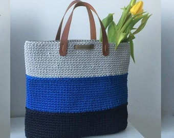 Crochet bag with leather handles, large tote bag, Scandinavian style
