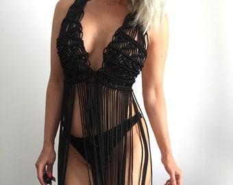 Black Macrame dress - Long Fringe Sleeveless Top - Boho Chic - Hippie - Beach wedding - Festival fashion - Burning Man, Christmas gift