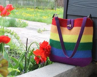 Crochet bag, large tote bag, multicolor