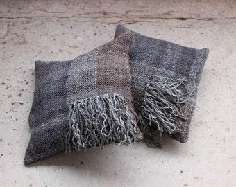 Housse de coussin tissé à la main traditionnel franges 16'' x 16'', coussins tissés, Saori, tissé Textille, style bohème, cadeau de Pâques