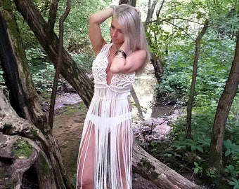 Macrame dress - Long Fringe Sleeveless Top - Boho Chic - Hippie - Bridal - Beach wedding - Festival fashion - Burning Man, Christmas gift