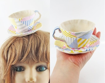 MADE-TO-ORDER ( 1 - 2 Weeks) Textile Teacup Fascinator (Hair Clip for Children & Adults) -Multi Stripe *Alice in Wonderland!*
