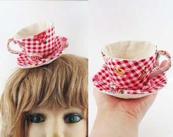 MADE-TO-ORDER ( 1 - 2 Weeks) Teacup Fascinator (Hair Clip for Children & Adults) -Red Gingham Cake