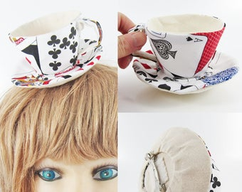 MADE-TO-ORDER ( 1 - 2 Weeks) Teacup Fascinator (Hair Clip for Children & Adults) -Playing cards * Please allow for slight variances.