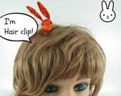 MADE-TO-ORDER ( 1 - 2 Weeks)- Bunny Hair Clip-Metallic Orange