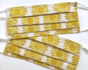 Sunshine Face Mask with Filter Pocket, Sunshine Face Covering, Yellow Face Mask, Summer Face Mask