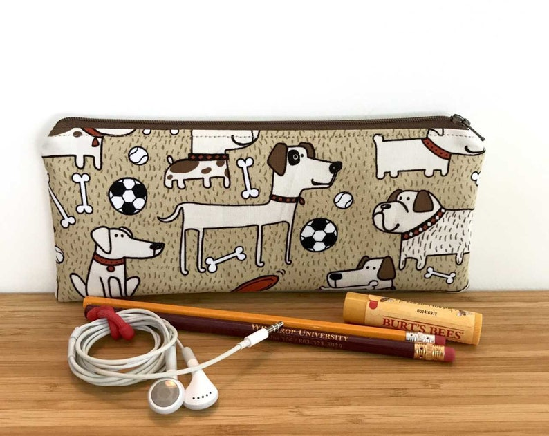 Kid Pencil Case Back to School Supplies Dogs Pencil Case Dog Zipper Pouch Dogs Pencil Pouch Soccer Zipper Pouch
