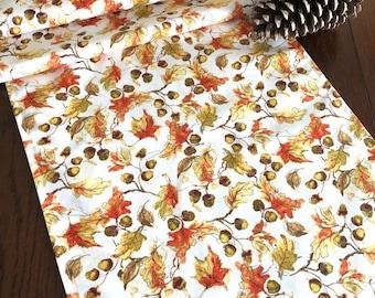 Fall Table Runner, Autumn Leaves Table Runner, 13x72 Table Runner, Orange Gold Brown Table Runner, Fall Table Decor, Thanksgiving Decor