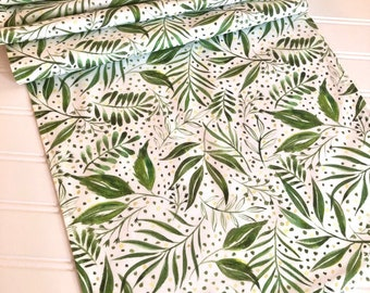 Green Floral Table Runner, Green and White Table Runner, 13x72 Table Runner, Green Floral Table Linens