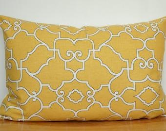 Yellow Geometric Throw Pillow, Yellow Pillow Cover, Yellow Geometric Cushion Cover, 12x18 Inch Yellow Pillow