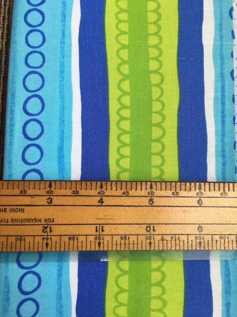 Aqua Striped Fabric Green Striped Fabric Blue Striped Fabric Juvenile Quilt Fabric Funky Stripes Sunny Daze by Alice Kennedy Fabric