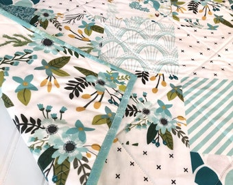 Aqua Mermaid Baby Quilt, Modern Wholecloth Baby Quilt, Teal Gold & Aqua Baby Quilt, Boho Floral Indie Quilt, Baby Shower Gift, Modern Baby