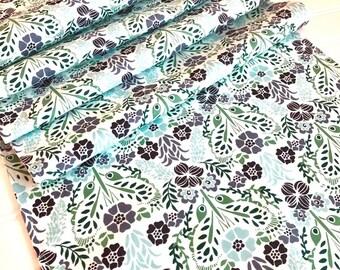 Summer Floral Table Runner, Blue Floral Table Runner, Blue Aqua Gray Green Table Runner, 13x72 Floral Table Runner
